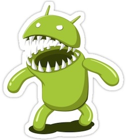 Android Showing It's Teeth Sticker