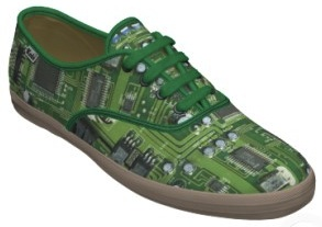Motherboard shoes now you can have shoes with a circuit board printed on it.