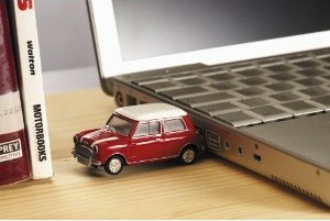 Red Mini Cooper 2GB data drive