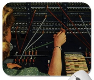 A vintage switchboard for phones on this mousepad