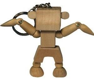 Wooden robot key chain fun